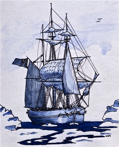 Blue pen and ink drawing of the tall ship, HMS Resolute, with only three sails unfurled and full of wind. Her deck is crowded with men, as they are sailing between icebergs and partially frozen waters.