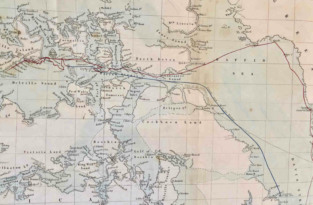 HMS Resolute's Master George Frederick McDougall created this chart showing Resolute's track during her Arctic Adventures. The red track is when she was manned and the blue without crew