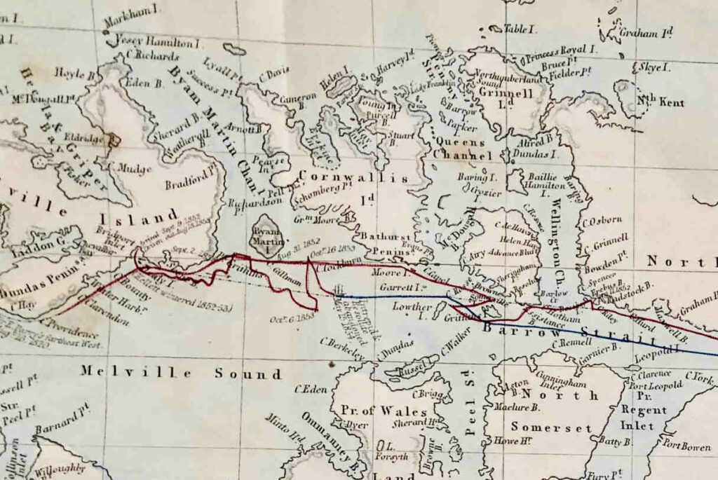 Detail of George McDougall's chart of HMS Resolute's travels in the Arctic.