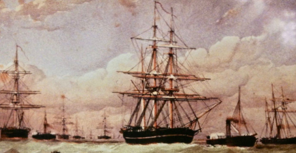 The five ships of the Belcher Expedition leave the Nore in April 1852. (Intrepid is off screen) Resolute is on the left, Assistance is in the centre with North Star in the distance off her stern, and Pioneer is on the far right.