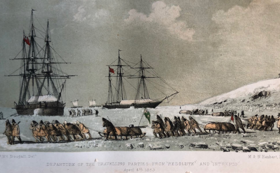 From the winter camp of HMS Resolute and HMS Intrepid, just off Dealy Island, the men depart on their spring 1853 sledging trips. During the course of 1853 many of them completed record breaking trips.