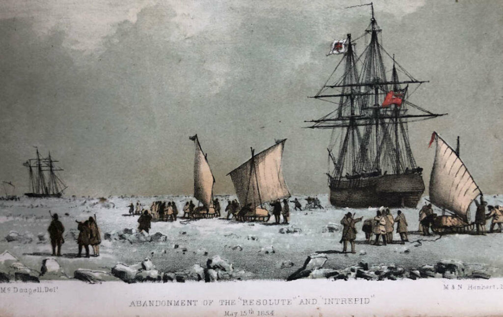 HMS Resolute's Master, George Frederick McDougall, painted this watercolour to memorialise the sad day when they were forced by Belcher to abandon Resolute (in the foreground) and her steam tender Intrepid (in the distance). The men have loaded their sledges, and set their sails to head to Beechey Island for their rendezvous. As they sledged away, they turned as one and gave their beloved ship three hearty cheers. But none of them felt cheerful, they were all sad to leave her.
