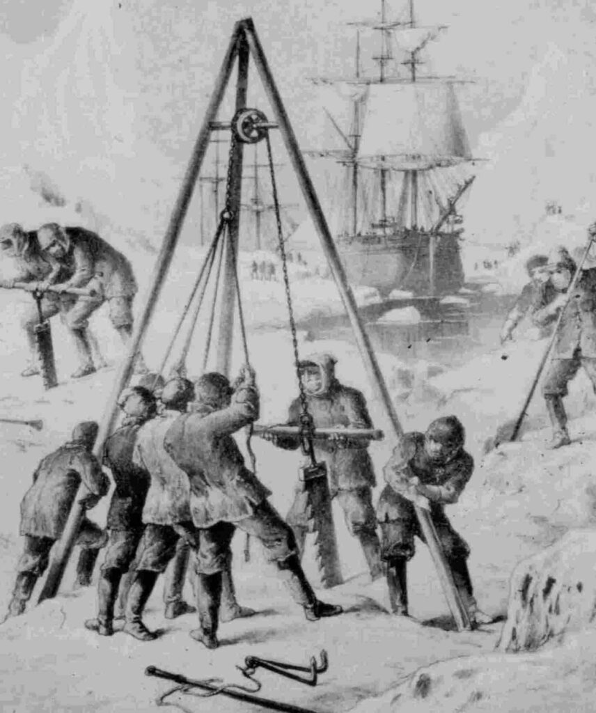 Arctic explorers cutting a dock into the stable shore ice using ice saws and long poles to pry the cut ice blocks out