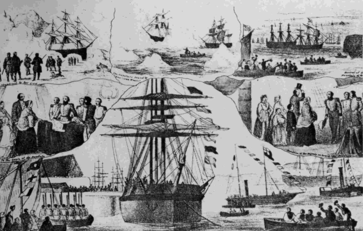 collage of events in the life of HMS Resolute Arctic travel, sledging teams, abandonment, salvage by Buddington, refurbished by US Navy, visited by Queen Victoria, Captain Hartstene gifting Resolute from the US government and people to the people of Britain